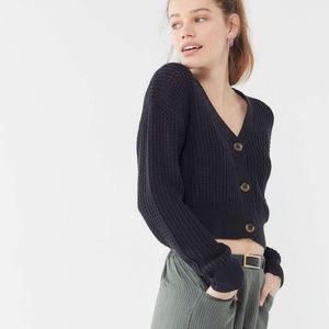 UO Ada Waffle Knit Cropped Black Cardigan, XS